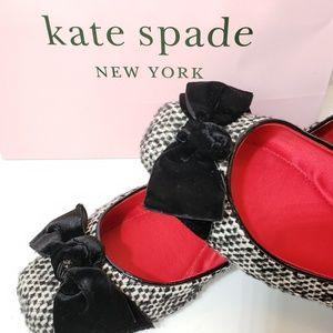 Kate Spade wool tweed flats w/ bow, 7.5